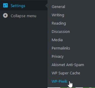 Select WP-Piwik under Settings