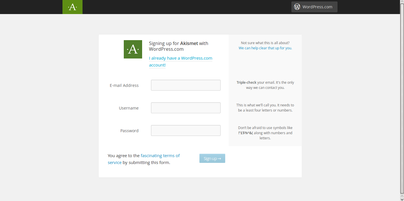 stopping WordPress comment spam Akismet website wordpress.com login
