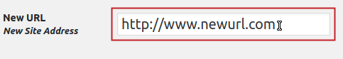 New URL field highlighted