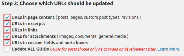 Checkboxes for URL options highlighted