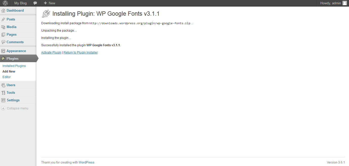 installing wordpress google fonts plugin step 2