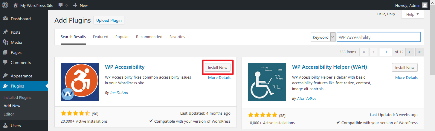 WordPress dashboard screenshot selecting 'Activate' for WP Accessibility