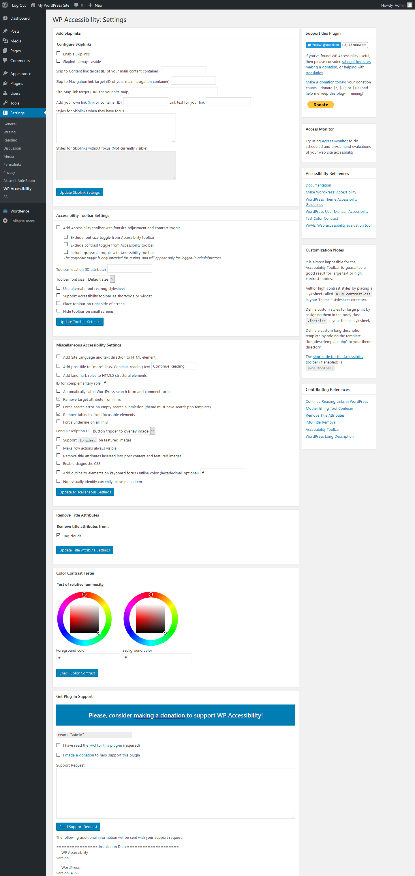 WordPress dashboard screenshot showing WP Accessibility configuration settings