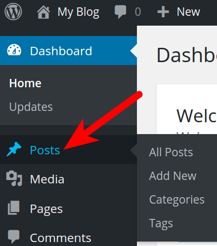 Posts in Dashboard menu