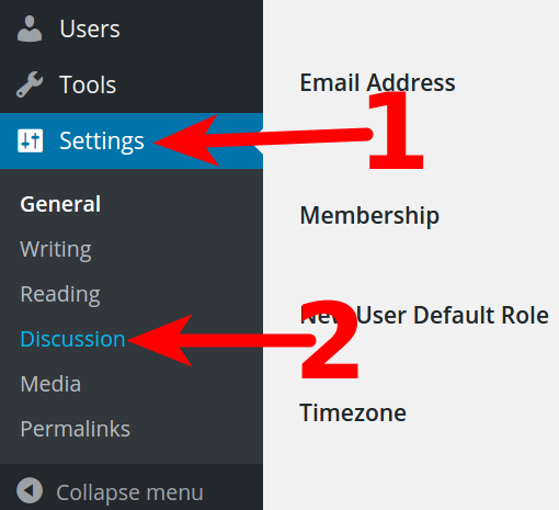 WordPress Dashboard Discussion settings