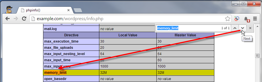 phpinfo page showing memory limit