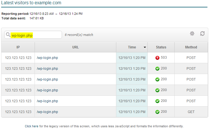 wp-login attempts in cpanel latest visitors