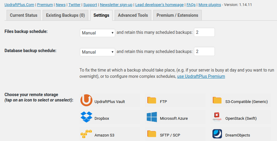 Updraft Settings and backup options